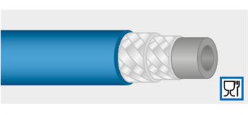 Шланг обрезной синий 5-ти слойный PVC, высокопрочный DN12, 50 бар, 70 гр. С AQUAFOOD (без фитингов)